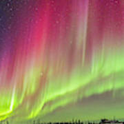 Aurora Panorama Over Northern Studies Art Print