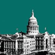 Austin Texas Capital - Sea Green Art Print
