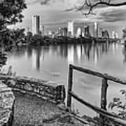 Austin Texas Skyline Lou Neff Point In Black And White Art Print