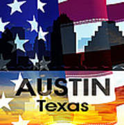 Austin Tx Patriotic Large Cityscape Art Print