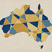 Australia Geometric Retro Map Art Print