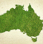 Australia Grass Map Art Print
