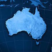 Australia Topographic Map Art Print