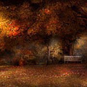 Autumn - A Park Bench Print by Mike Savad