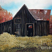 Autumn - Barn -orange Art Print