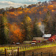 Autumn - Barn - The End Of A Season Print by Mike Savad