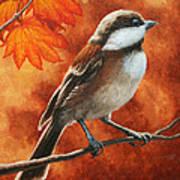 Autumn Chickadee Art Print by Crista Forest