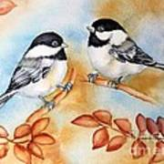 Autumn Chickadees Art Print