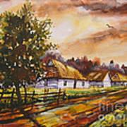 Autumn Cottages Art Print