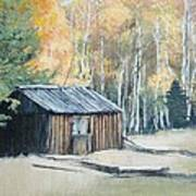 Autumn Descends On The Old Logger's Cabin Art Print