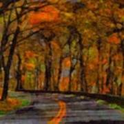 Autumn Drive Freedom And Beauty Art Print