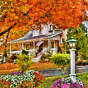 Autumn - House - The Beauty Of Autumn Art Print by Mike Savad