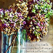 Autumn Hydrangeas Photoart With Verse Art Print