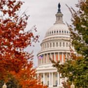 Autumn In The Us Capitol Art Print