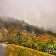 Autumn Just Around The Bend Blue Ridge Parkway In Nc Art Print