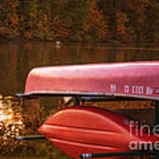 Autumn Kayaks On Newport Lake Art Print