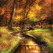 Autumn - Landscape - By A Little Bridge  Art Print by Mike Savad