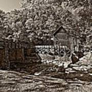 Autumn Mill Sepia Art Print
