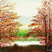 Autumn On The Ema River Estonia Art Print