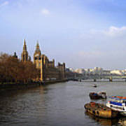 Autumn On The Thames    Art Print by Stephen Norris