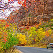 Autumn On Zion Canyon Scenic Drive In Zion National Park-utah  Art Print