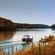 Autumn Pontoon Boating Argyle Lake Art Print