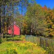 Autumn Red Barn Art Print by Joann Vitali