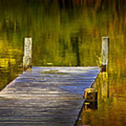 Autumn Reflections And Boat Dock On A Pond Near Yankee Springs Michigan Art Print