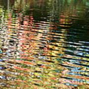 Autumn River Water Reflections  Art Print