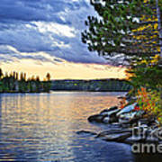 Autumn Sunset At Lake Art Print