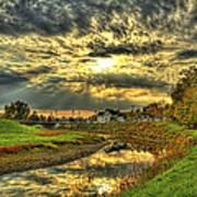 Autumn Sunset Reflection Art Print by Jim Lepard