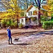 Autumn - Walking The Dog Art Print