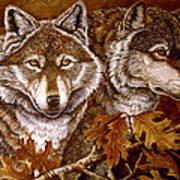 Autumn Wolves Art Print