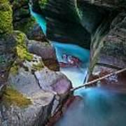Avalanche Gorge Glacier National Park Painted   Art Print