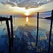 Avon Harbor Sunset Reflections 7/26 Art Print