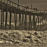 Avon Pier Stormy Sepia 3 10/13 Art Print