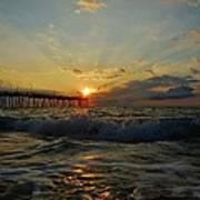 Avon Pier Sunrise Morning Sunbeams 7/26 Art Print