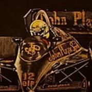 Ayrton Senna And Lotus 98t Art Print