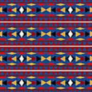 Aztec Blue Pattern Art Print