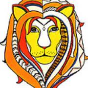 Golden Aztec Lion Art Print