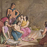 Aztec Women Making Maize Bread, Mexico Art Print