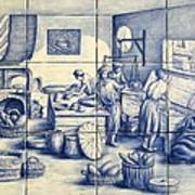 Azulejo Portuguese Bakers Tile Mural Art Print by Julia Sweda