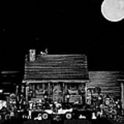 B/w Log Cabin And Outhouse Scene With The Classic Old Vintage 1908 Model T Ford Art Print by Leslie Crotty