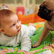 Baby And Dog Art Print