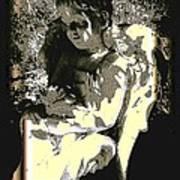 Baby Angel With Teddy Art Print