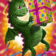Baby Birthday Dragon With Present Art Print