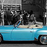 Baby Blue Benz Art Print