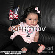 Baby Girl With An American Flag And Voting Sticker - Limited Edition Art Print by Hisham Ibrahim