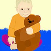 Baby Holding Teddy Bear Art Print