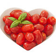 Baby Plum Tomates In A Heart Shaped Bowl Art Print
